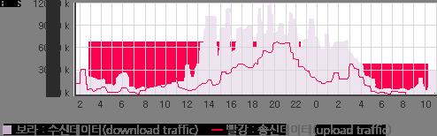 회선 트래픽 조회 예시. 핑크색 막대그래프로 수신데이터(download traffic)를, 빨강색 선 그래프로 송신데이터(upload traffic)를 나타냅니다.