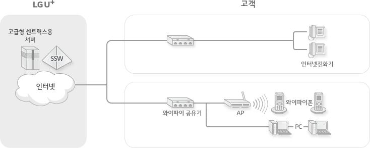 LG 유플러스의 인터넷, 고급형 센트릭스용 서버, SSW에 연결 - 인터넷전화기, 와이파이 공유기를 통해 와아파이폰, PC로 인터넷 전화를 사용